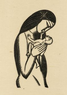 rockingham gallery - eric gill - original wood engraving - madonna and child - 1929 - douglas cleverdon Mother And Child Painting, Mother Images, Mary And Jesus, Madonna And Child, Tattoos For Kids, Children Images, Blessed Mother, Wood Engraving, Sacred Art