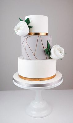15 of our favorite geometric wedding cakes for a modern wedding - Wedding cakes . - 15 of our favorite geometric wedding cakes for a modern wedding – Wedding Cakes + Decor - Rustic Wedding Cake Toppers, Elegant Wedding Cakes, Beautiful Wedding Cakes, Wedding Cake Designs, Beautiful Cakes, Elegant Birthday Cakes, Simple Elegant Wedding, Elegant Cakes, Creative Wedding Cakes