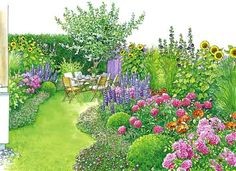 "The biggest little garden: All season backyard mixes fast-growing annuals with perennials, box, grasses and an apple tree. Evergreen mounds of Geranium X cantabrigiense ""Biokovo"" enclose the borders, blooming from May to July. Sunflowers, Black hollyhocks, rose 'Princess Donau', peonies, deutzia, miscanthus, lupines, buxus, and poppies. (German site includes free pdf plan)"
