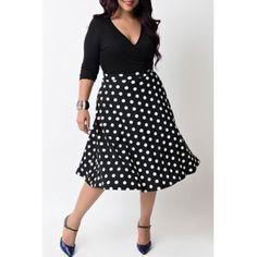 $20.14 Sexy V-Neck Half Sleeve Polka Dot Spliced Women's Dress