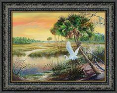 St. Marks Wildlife Refuge Framed Print featuring the painting St. Marks National Wildlife Refuge- A Spring Oasis by Daniel Butler
