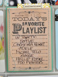 LOVE Today's Favorite Playlist idea for Project Life
