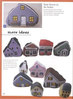CASITAS PINTADAS EN PIEDRAS - Oksana Volkova - Álbuns da web do Picasa...There is a complete tutorial for painting houses!!