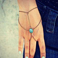 blue etched stone slave bracelet, bracelet ring, ring bracelet, boho bracelet, hipster bracelet, slave ring on Etsy, $24.00
