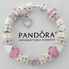 Authentic Pandora Silver Bracelet w Pink Love Heart Victorian Charm Murano Beads | eBay   $152.50