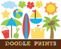 Digital Clip Art Printable  Beach Clipart Surf by doodleprints, $5.00