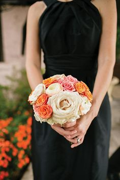Pink, orange and white bridesmaid bouquet by The French Bouquet. Photo by Amanda Watson Photography. #wedding #bouquet #pink #orange