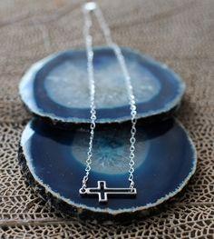 Miranda Frye sideways cross necklace in sterling silver.    www.mirandafrye.com
