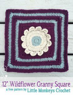"12"" Wildflower Granny Square from Square-A-Day CrochetAlong | Free Crochet Pattern by Little Monkeys Crochet"