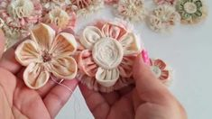 Kanzashi Fabric Flower *TUTORIAL*as requested. Part - 2
