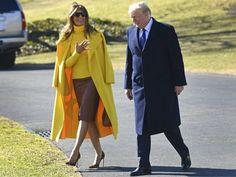 Fashion Notes: Melania Trump Brings Sunshine to Ohio in Yellow Ralph Lauren Coat, Cheetah Stilettos
