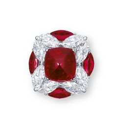 A RUBY AND DIAMOND RING CENTERING UPON A CABOCHON RUBY WEIGHING APPROXIMATELY 10.08 CARATS, WITHIN A QUATREFOIL SURROUND ASSEMBLED BY MARQUISE-CUT DIAMONDS, ENHANCED BY MARQUISE-CUT RUBIES MEASURING APPROXIMATELY 2.47 CARATS TOTAL, MOUNTED IN PLATINUM.