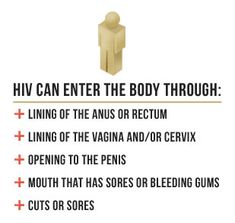Hiv can enter the body through: lining of the anus or rectum, lining of the vagina and/or cervix, opening to the penis, mouth that has sores...