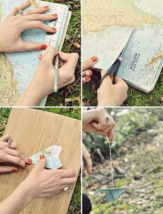 DIY Travel Paper Plane Mobile What you will need: -old maps -branches -several ribbons -pliable metal wire -string -tape -scissors -ruler -pencil Instructions: Step Measure and cut the map into Papier Diy, Travel Party, Paper Crafts, Diy Crafts, Travel Themes, Party Themes, Diy Projects, Baby Shower, Crafty