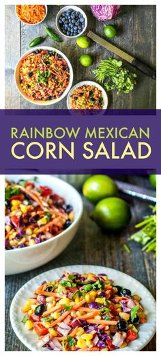 Rainbow Mexican Corn Salad - a healthy salad of colorful ingredients and mixed in a creamy lime dressing!