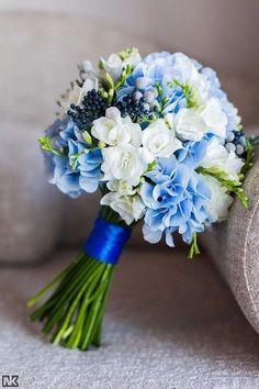 Prom Flowers, Blue Wedding Flowers, Bridal Flowers, Flower Bouquet Wedding, Bride Bouquets, Bridesmaid Bouquet, Baby Blue Weddings, Hand Bouquet, Deco Floral