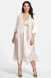 Alex Evenings Embellished Handkerchief Hem Dress & Jacket (Plus Size)