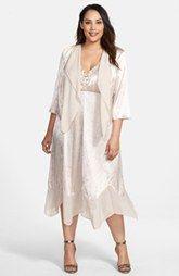 Alex Evenings Embellished Handkerchief Hem Dress & Jacket (Plus Size)