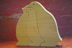 Handmade Wooden Penguin Family Childrens Puzzle by WoodnWords, $10.00