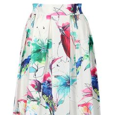 White painted bird midi-skirt 100%Polyester; Non-stretchable material; Zipper; Hand wash cold NO TRADES new in package therefore cannot model. I'm usually a size 5 in jeans and this is the right size for me. :)  Waist:25.2inch (with stretchable band), Length:26.38inch Skirts Midi