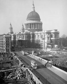 St Paul's Cathedral looking down Cannon Street from Cannon Street Fire Station showing the devastation caused by German bombing during the Second World War. 1948.