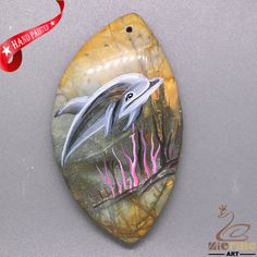 Creative Pendant Hand Painted Dolphin Natural Gemstone   ZL805594 #ZL #Pendant