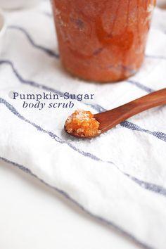 Pumpkin Sugar Body Scrub using pumpkin puree, sugar,  honey, and sweet almond oil (or your carrier oil of choice)