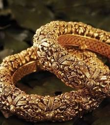 Buy classy looking gold studded bangle pair bangles-and-bracelet online India Jewelry, Temple Jewellery, Gold Jewelry, Jewellery Box, Jewellery Shops, Jewelry Stand, Tiffany Jewelry, Diamond Jewellery, Handmade Jewellery