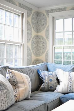 Great Blue and White Banquette and Wallpaper