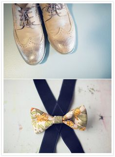 gold groom's shoes and floral bow tie (From Velour!) 1960s Wedding, Mod Wedding, Wedding Shoes, Wedding Blog, Groom Shoes, Floral Bow Tie, 100 Layer Cake, 60s Mod, French Wedding