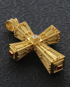 Handmade cross with Diamonds & Rubies Ancient Jewelry, Antique Jewelry, Gold Jewelry, Jewelery, Vintage Jewelry, Byzantine Jewelry, Religious Cross, Religious Jewelry, Sign Of The Cross