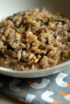vegan and gluten free *** radicchio and lapsang souchong risotto with orange peel