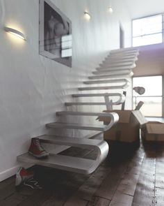 Ribs staircase designed by Tecnicalbrida-Alan Zirpoli and Gabriele Mariotti