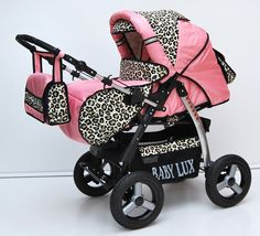 Magnum 2 in 1 Pram Combi Stroller & Pushchair (rain cover, mosquito net, cup holder, changing pad, 47 colors) 18 Pink & Leopard Baby Kind, Baby Love, Baby Girl Strollers, Baby Prams, Everything Baby, Baby Needs, Barbie, Baby Essentials, Reborn Babies