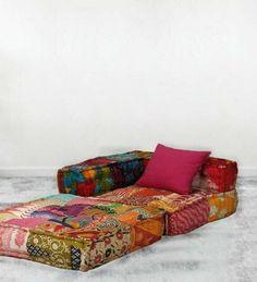 Modular Sofa Bed, Sofa Bed Price, Floor Couch, Floor Cushions, Patchwork Sofa, Romantic Living Room, Floor Sitting, Cotton Bedding, Cotton Fabric