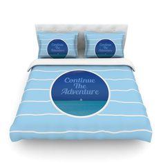 "Deepti Munshaw ""Continue The Adventure"" Blue Aqua Cotton Duvet Cover"