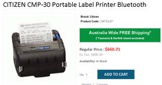 Buy CITIZEN Portable Label Printer Bluetooth @ 690 from OnlyPOS. Printers, Plastic Case, Citizen, Bluetooth, Label, Usb, Coding, Australia, Free Shipping