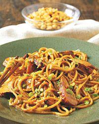 Pork Noodles (1 Teaspoon Soy Sauce, 2 Teaspoons Lime Juice, Peanut Butter, Broth, Sugar, Salt and Red Pepper Flakes) mmm