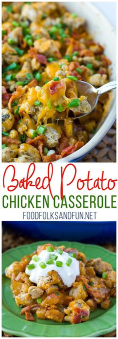 This Loaded Baked Potato Chicken Casserole Recipe is perfect for weeknight family dinners. It's an instant family-favorite and some serious comfort food! by juliet Slow Cooker Huhn, Slow Cooker Chicken, Slow Cooker Recipes, Crockpot Recipes, Cooking Recipes, Cooking Stuff, Baked Potato Chicken Casserole, Loaded Baked Potatoes, Chicken Soup Recipes