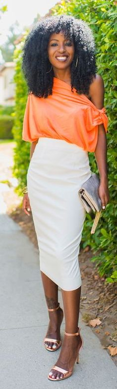 Rebecca Taylor Tangerine One Shoulder Chiffon Loose Blouse by Style Pantry- | ✤LadyLuxury✤
