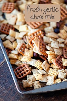 I may be trying this for tonight's band fund-raiser but will add some bright orange (Cheetos maybe?) for Halloween and maybe some other stuff . homemade chex mix with fresh garlic! Bold Chex Mix Recipe, Chex Mix Recipes, Recipes Appetizers And Snacks, Easy Snacks, Snack Recipes, Healthy Snacks, Homemade Chex Mix, Fresh Garlic, Food To Make