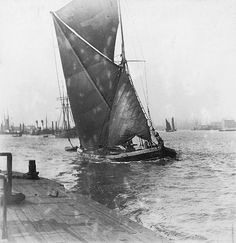 The sailing barge 'William and Ann' on the River Thames. About 1884