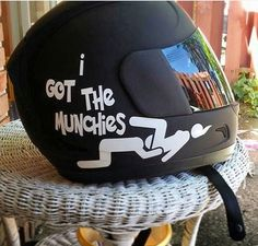 i-got-the-munchies-helmet-sticker. Haha I thought this was hilarious. But to see such a TOOL wear it on a helmet might make me crash my motorcycle because I would be laughing way to hard! Lol