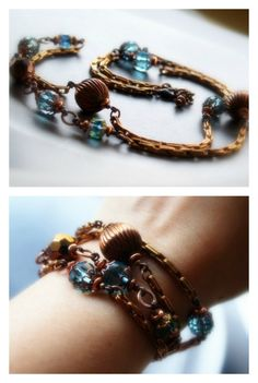 Copper and turquoise/Long chain necklace/Multistrand bracelet/Boho chic/Statement jewelry/Statement necklace/Statement bracelet