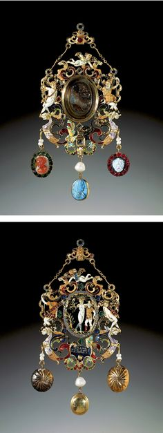 Apollo and Daphne pendant jewel, 2nd half 16th c. with 18th c. additions, Gold, émail en ronde bosse, sard, orange and white sardonyx, black and white onyx, table-cut diamonds, table-cut and cushion-cut rubies, cushion-cut Colombian emeralds, turquoise, saltwater pearl, 11.8 x 5.5 cm, Acquirer: George III, King of the United Kingdom (1738-1820), when King of Great Britain (1760-1800)