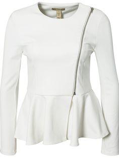 White Long Sleeve Zipper Peplum Hem Outerwear