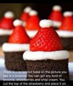 Christmas dessert! brownies gorritos de santa claus!