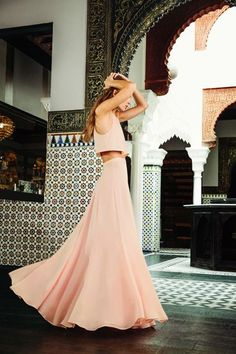 blush crop top and maxi skirt in Morocco