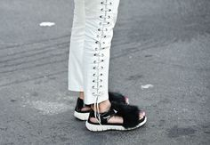 New York Fashion Week: Flat sandals are one thing — but furry flat sandals are a whole different ballgame.