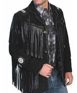 Mens Black Suede Leather Western Classic Jacket... - $189.99